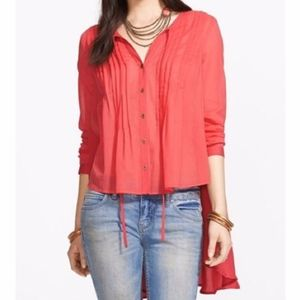 "Free People Coral ""Sisters Of The Moon"" Blouse XS"